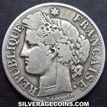 1873A French Silver 2 Francs (Liberty Head, .835)