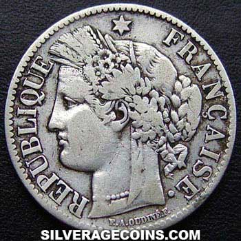 1888A French Silver 2 Francs (Liberty Head, .835)