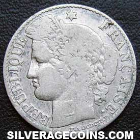 1881A French Silver 50 Cents (Modern Republic, Liberty Head)