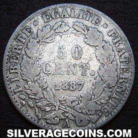 1887A French Silver 50 Cents (Modern Republic, Liberty Head)