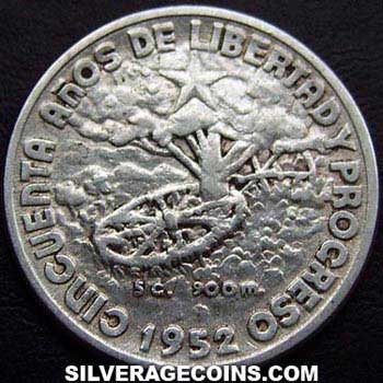 1952 Cuban Silver 20 Centavos (50th years of the Republic)