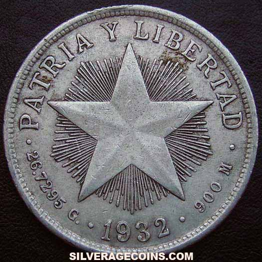1932 Cuban Silver Peso (low relief star)