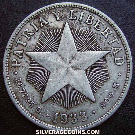 1933 Cuban Silver Peso (low relief star)