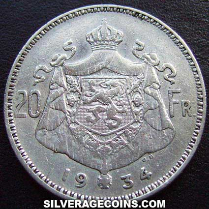 1934 Position B Albert I Belgian Silver 20 Francs (Dutch, coin alignment)