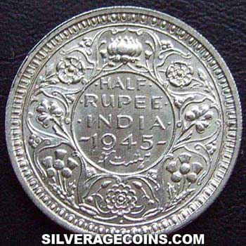 1945 B Small 5 George Vi British India Silver Half Rupee