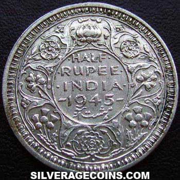 1945(b) Small 5 George VI British India Silver Half Rupee