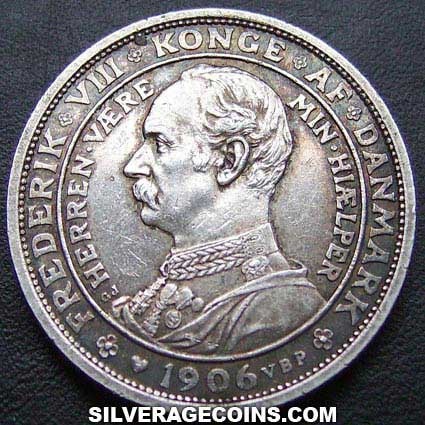 1906(h) VBP; GJ Frederik VIII Danish Silver 2 Kroner (Ascenssion to the throne)