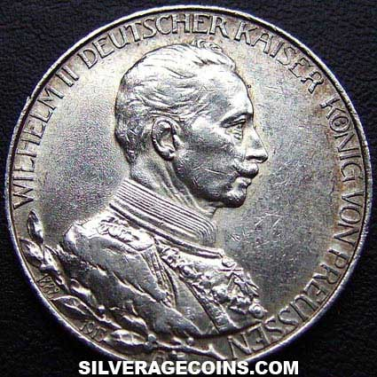1913A Wilhelm II Prussian Silver 2 Marks (25th year of Reign)