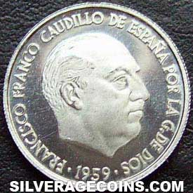 1959 Proof Franco Spanish 10 Cents