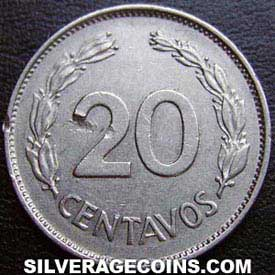 1962 Ecuador 20 Cents (Nickel clad Steel)