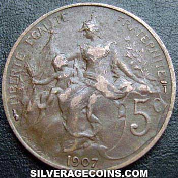 1916 French Bronze 5 Cents (Modern Republic)