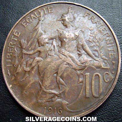 1916 French Bronze 10 Cents (Modern Republic)