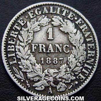 1887A French Silver Franc (Liberty Head)