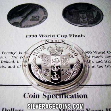 Niue 50 Dollars Silver Proof (Italy 1990 World Cup)