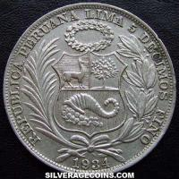 1934 Peru Silver Sol (.500 large letters)