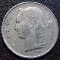 1954 Belgian Franc (French, coin alignment)