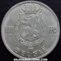 1949 Belgian Silver 100 Francs (Dutch, coin alignment)