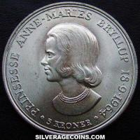 1964 (h) Frederik IX Danish Silver 5 Kroner (Wedding of Princess Anne Marie)