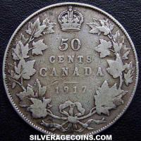 1917 George V Canadian Silver 50 Cents