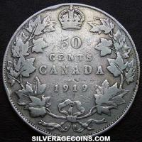 1919 George V Canadian Silver 50 Cents