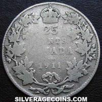 1911 George V Canadian Silver 25 Cents