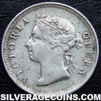1895 Victoria Straits Settlements Silver 5 Cents