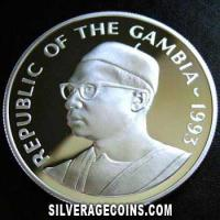 1993 Proof Gambia 20 Dalasis Silver Proof (40th Anniversary)
