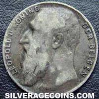 1901 Leopold II Belgian Silver 50 Centimes (French)