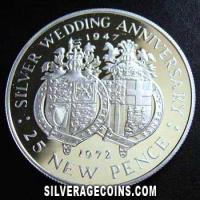 1972 Proof Gibraltar 25 Pence Silver Proof Silver (Wedding Anniversary) [Boxed]