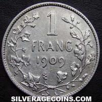 1909 Leopold II Belgian Silver Franc (French, without period)