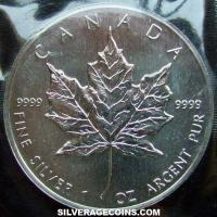 1990 Canadian 5 Dollars 1 Ounce Silver Maple Leaf