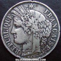 1871K M/star 5 French Silver Francs (Liberty head)
