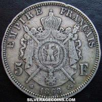 1868 BB Napoleon III French Silver 5 Francs