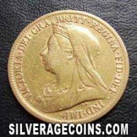 "1899 Queen Victoria British Gold ""Widow Head"" Half Sovereign"