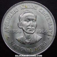 ND (1964) Philippines Silver Peso (Apolinario Mabini)
