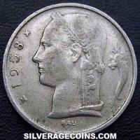 1958 Belgian 5 Francs (French, coin alignment)