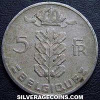 1966 Belgian 5 Francs (French, coin alignment)