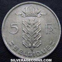 1974 Belgian 5 Francs (French, coin alignment)