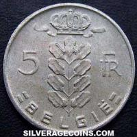 1967 Belgian 5 Francs (Dutch, coin alignment)