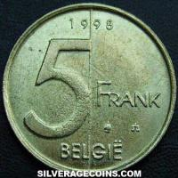 1998 Albert II Belgian 5 Francs (Dutch)