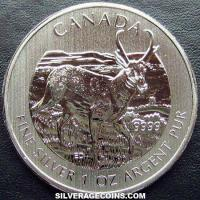 2013 Canadian 5 Dollars 1 Ounce Silver Wildlife Series (Antelope)