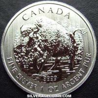 2013 Canadian 5 Dollars 1 Ounce Silver Wildlife Series (Bison)