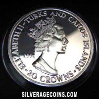 1994 Proof Turks & Caicos 20 Crowns Silver Proof (D Day: Bradley)