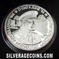 1994 Proof Turks & Caicos 20 Crowns Silver Proof (D Day: Eisenhower)