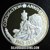 1993 Proof Turks & Caicos 20 Crowns Silver Proof (Coronation Anniversary)