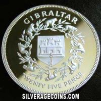 1977 Proof Gibraltar Silver Proof 25 New Pence (Jubilee Silver) [Boxed]