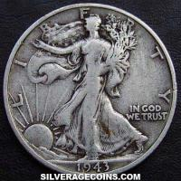 1943 S United States Walking Liberty Silver Half Dollar