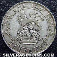 1923 George V British Silver Sixpence (.500)