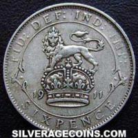 1911-2B George V British Silver Sixpence
