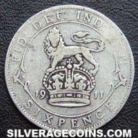 1911-2A George V British Silver Sixpence